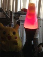 Pikachu, Lava lamp, and cow by Sugerpie56