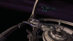 USS Verdant Sentinel at DS9 by tintallin