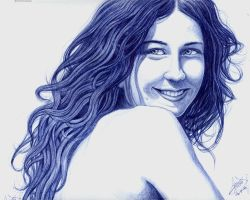 Blue Ink Portrait of Laura by Akifan