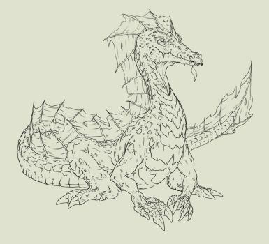 Wingless Dragon WIP by Phionnavar