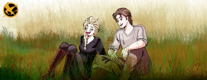 Elsa Arendelle as Katniss  and Flynn Rider as Gale by KYOooTERCERA
