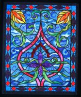 Loop embroidery stained glass by moonbaydesigns