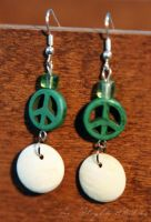 Green and White Peace Earrings by ladyhawk21