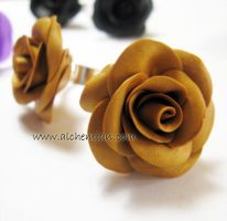 polymer clay rose ring by AlchemianShop