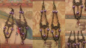 Lady Lilac Steampunk earrings by assassin-kitty