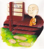 Little monk sitting in his shrine by Saelian