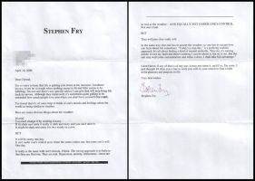 My letter from Stephen Fry by xchingx