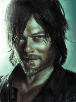 Daryl Dixon - digital portrait by speedy-painter
