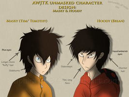 AWJTK Character Design - Unmasked Hoody and Masky by Sapphiresenthiss