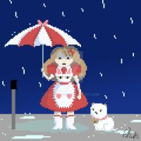 Bee and Puppycat in the Rain by Chicken008