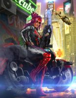 Shadowrun Female Street Samurai or Rigger by raben-aas