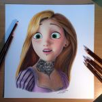 Rapunzel Color Pencil Drawing by AtomiccircuS