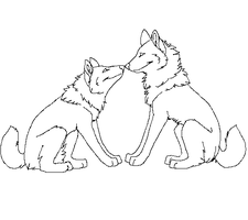 Free Wolf Couple Lineart 2 by machinewolf2