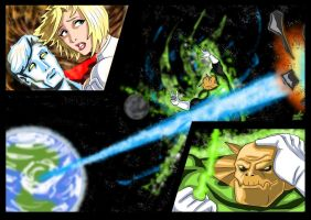 Powergirl and Captain Atom  - Flame of Py'tar (4) by adamantis