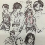 Levi, Eren, and Mikasa Sketchdump--February 2015 by Vampiressartist