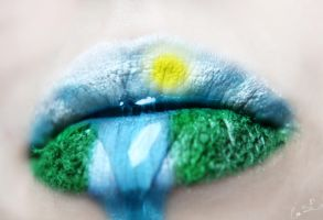 Countryside Waterfall Lip Art by Chuchy5