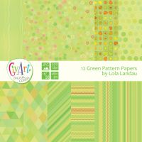 12 abstract green pattern digital papers by css0101