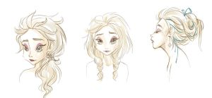 Elsa's Hairstyles (sketch) by Paulina-AP