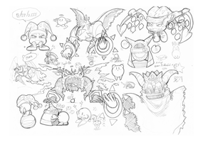 Sketch kirby things by Marionette-Virus