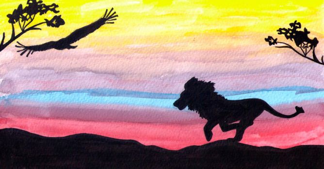 Lion Sunset by BeeBeeBeee