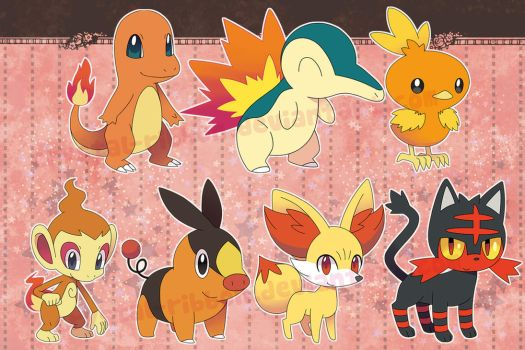 Pokemon fire starters - stickers by Crystal-Ribbon