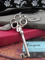 Winged Key and Lock Pendant by Megumi-Selwyn