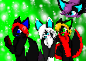 Kyo,Tommy,FeeFee, and  Abby by FoxMew4044