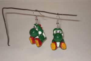 Yoshi earrings by ArtNinja101