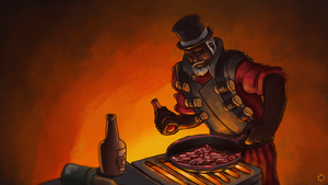 demoman frying bacon by solou5