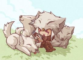 Resting with pack by sazienas