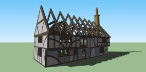 Tudor cottage with shadows by Ddagaro