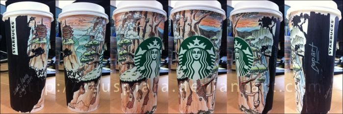 Starbucks Cup Art (Temple Falls) by zeusplara