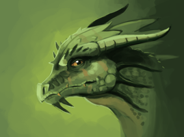Boring Green Dragon Head by Pseudolonewolf
