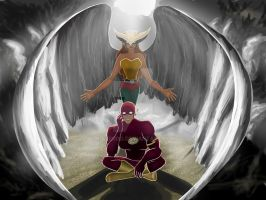 Flash and Hawkgirl - My guardian angel by BIazeRod