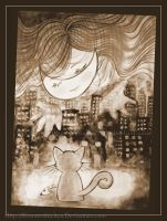 Moon in the eyes of a cat(black and white version) by Rinmeothichca
