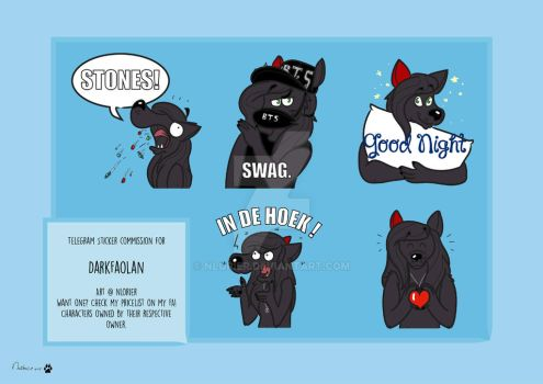 Telegram stickerpack commission for DarkFaolan by nlorier