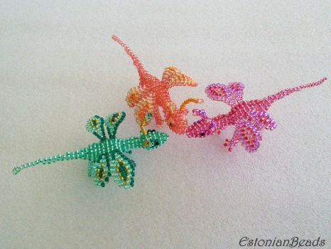 Beaded butterflydragons by EstonianBeads