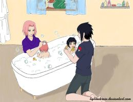 Sasuke and Sakura bathe kids (color version) by byBlackRose