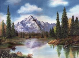 Oil Painting - Mountains by WispyChipmunk