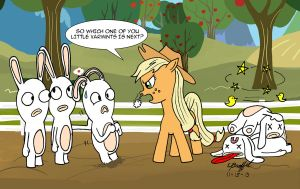 Applejack vs the Rabbids by Cartoon-Eric