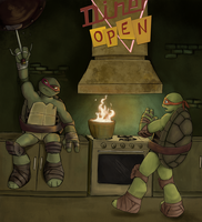 Mikey And Raph by Zaebros