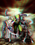 Wolverine and the X-Men in 3D Anaglyph by xmancyclops