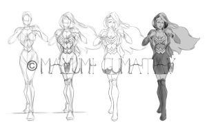 Wonder Woman Sketches by myoume