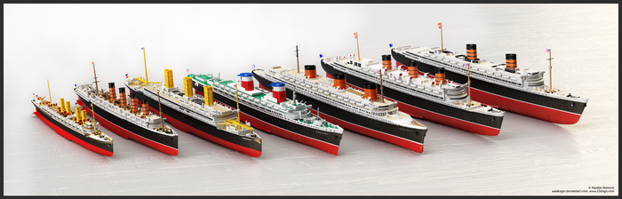 Famous Ocean Liners - 3D models of 1250:1 replicas by WaskoGM