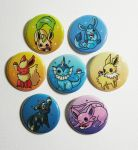 eeveelution buttons by michellescribbles