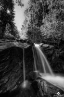 Morning Sun Over the Waterfall BW by mjohanson