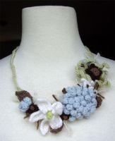 crochet blue mum necklace by meekssandygirl