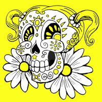 candy skull 3-Daisy Pain by rawjawbone
