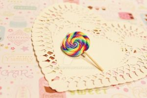 Polymer Clay Rainbow Lollipop Pendant by CharmStop