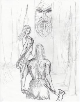 Frost Giant's Daughter - Initial Sketch by heathenbard